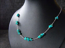 Rare 925 sterling silver Carico Lake TURQUOISE gemstone necklace & earrings set