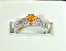 NATURAL MEXICAN FIRE OPAL WHITE TOPAZ & ZIRCONS PLATINUM OVER 925 S.S. RING SZ 6