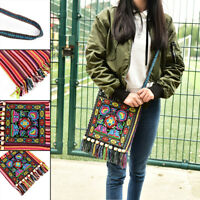 Vintage Canvas Ethnic Shoulder Bag Embroidery Hippie Tassel Tote Messenger FG