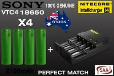 4 x 100% Genuine SONY VTC4 US18650 Plus Nitecore i4 Intelli Charger