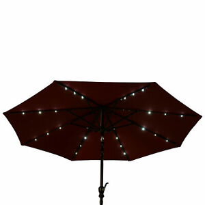 24 LED Parasol Umbrella Solar Powered Chain Light Garden Tilt Crank