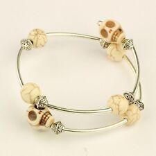 Wholesale Lot 12 Silver Tone Skull Round Bead Halloween Biker Punk Wrap Bracelet