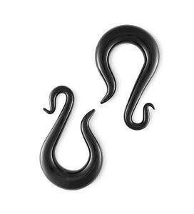 Pair Black Glass Serpentine Drops Gauges