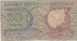 Congo Democratic Republic 20 FRANCS 1961 USED