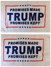 "Promises Made Trump Promises Kept 2-Sided 100D Woven Poly Nylon 12""x18"" Flag"