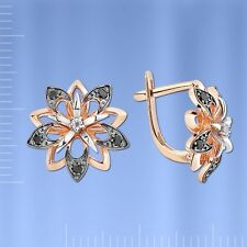 Russian Rose gold 14k/ 585 flower earrings with CZ. NWT stunning. 4.22 g