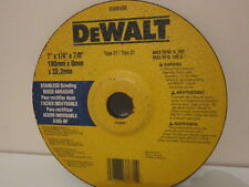"5 X 180mm - 7"" DeWalt GRINDING DISC'S. STAINLESS STEEL. 6mm THICK X 22mm BORE."