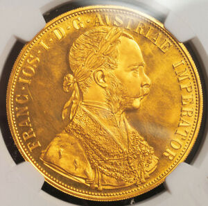 1915, Austria, Francis Joseph I. Large Gold 4 Ducats Coin. Re-Strike! NGC MS-63!