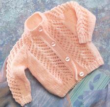"Baby Cardigan Prem Open Patterned Front & Sleeve 12"" - 22""  DK Knitting Pattern"
