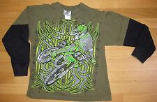 Rude Boyz T-Shirt BOYS Size S Long Sleeve - Motorbike - Green w Graphics