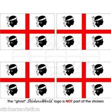 SARDAIGNE Drapeau SARDE ITALIE Vinyle Stickers Autocollant 50mm x4