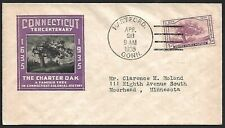 USA #772 1935 Connecticut Tercentenary Hartford FDC - scarcer cachet