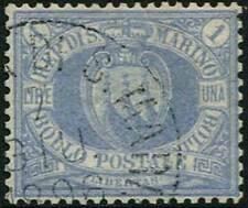 SAN MARINO -  1894 1 L. oltremare, ben dentellato, ottima centratura 5/895
