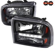 05-07 Ford F250 F350 Super Duty Black Housing Headlights Amber Reflector LED DRL