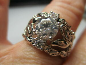 STERLING SILVER ROSS SIMONS THREE STONE CUBIC ZIRCONIA FLOWER LEAVES RING SIZE 7