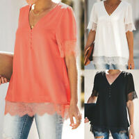 Women V Neck Chiffon Lace Short Sleeve Casual Blouse Tunic T-Shirt Top Plus Size