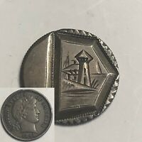 BEAUTIFUL 1892 LIGHTHOUSE Love Token Engraved Barber Head Dime Silver 10c AU UNC