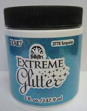 New Plaid Folk Art Extreme Turquoise Glitter Acrylic Paint 5 fl.oz/147.9ml #2778