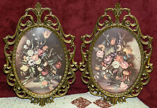 2 ANTIQUE BRASS PHOTO FRAME WITH CONVEX/BUBBLE GLASS! LOVELY PRINTS! ITALY