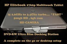 HP Elitebook 2760p Multitouch Tablet i5 2.5GHz SSDor 500gb+6gb.+ext HD+CAM+DOCK