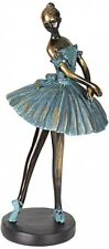 Ballerina Decorative Sculpture Statue Curio Verde Bronze Pedestal Stand Dancer