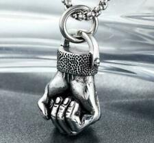 Vintage Punk Men Silver Stainless Steel Fist Necklace Chain Pendant Jewelry Cool