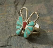 Vintage Butterfly ring,Turquoise/Coral, size 4 1/2, handcrafted, sterling silver