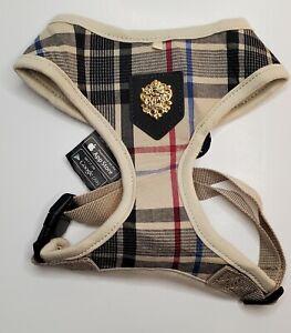 Puppia Dog/Puppy Soft Harness Junior A Beige Plaid Medium Size With Smart Tag