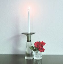 Vintage Fabio Tosi Cenedese Gray Smoked Glass Murano Candlestick 1976 Italy