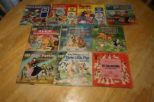 Vintage Disney Children's See Hear Read Along Story Books and Records Lot
