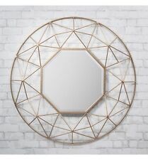 Andromeda Large Gold Metal 3d Frame Round Modern Contemporary Wall Mirror 36""
