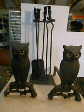 Cast Iron Owl Fireplace Andirons with Amber Eyes and Matching Tools