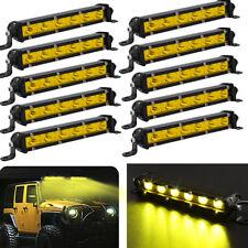 "10x 7"" Yellow Slim LED Work Light Bar Single Row Spot Beam Fog Driving ATV Truck"