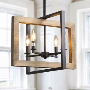 LNC 4-Light Black Modern Farmhouse Geometric Caged Wood Candelabra Chandelier