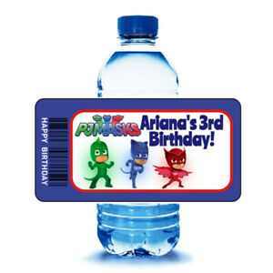 20 PJ MASKS Birthday Party Water Bottle Labels Wrappers Party Favors
