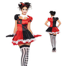 Jester Costume Adult Ladies Harlequin Harley Quinn Circus Halloween Fancy Dress