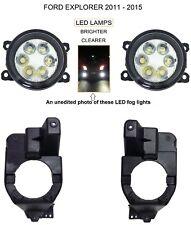 2011 - 2015 FORD EXPLORER CLEAR BRIGHT LED REPLACEMENT FOG LIGHTS KIT BRACKET