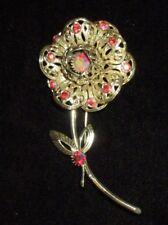 Sarah Cov Flower Red Aurora Boreali Gold Pin Brooch Rhinestone Crystal Vintage