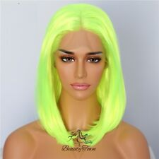Neon Yellow Synthetic Lace Front Wigs Short Bob Wig for Women Makeup