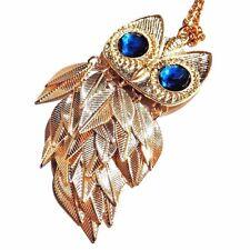 SHINY GOLD OWL PENDANT sweater chain necklace vintage-style tassel bird retro C1