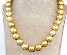 Round Golden South Sea Pearl Dangle Bead Necklace 18K Yellow Gold 14mm