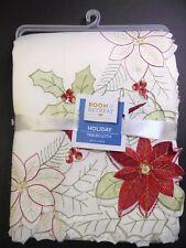 "Room & Retreat Tablecloth 60"" x 84"" Christmas Holiday flower cutwork Rectangular"