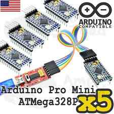 5 x Arduino Mini Mega328P with FT232 TTL Programmer with Cables - Mini Funduino