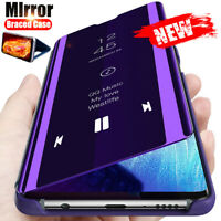 Pour Huawei nova 5T Honor 20 Pro Lite Miroir étui cuir intelligent Folio coque