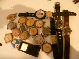 lot montres vintage chronographe kienzle cyma mirus frenca elves wwii etc....