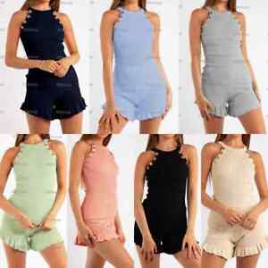 Women's Gold Button Vest Top Frill Shorts Ladies Set Two Piece Co-ord Loungewear