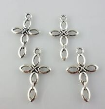 16pcs Tibetan Silver Hollow Cross Charms Pendants for Bracelet 17x28mm