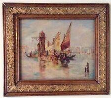 Painting Oil On Board Parade Of Gondolas Venice