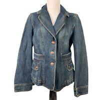 Ann Taylor LOFT Denim Jacket Blue Medium Wash Mid Length Button Notched Lapel 10