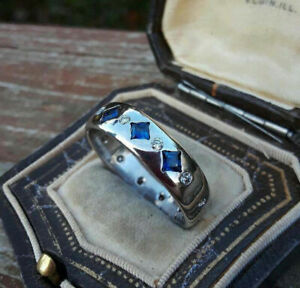 Men's Band Engagement & Wedding Flush Set Ring 14K White Gold 2.35 Ct Sapphire